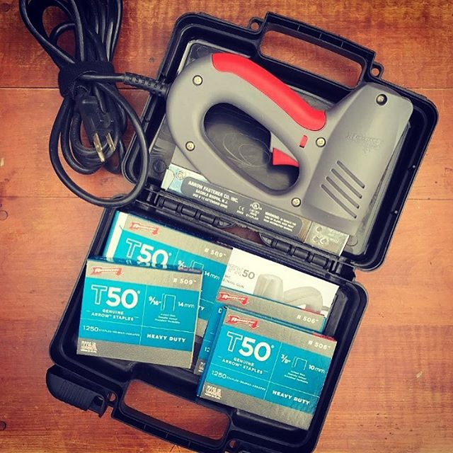 """These older Arrow electric staple guns are still out and about in the DIY world! The predecessors to our current motor drive tools, we still see ETFX50s frequently, including in this shot from @shabbynchicetsy. She said it was her """"favorite purchase from this weekend!"""" What's the oldest Arrow tool you have?"""