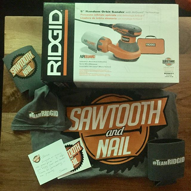 Got some amazing packages today when I got home from my surgery. Thank to @sawtooth.and.nail @ridgidpowertools @arrowfastener and @vistaprint I can't wait to be ready to get back out into the shop!