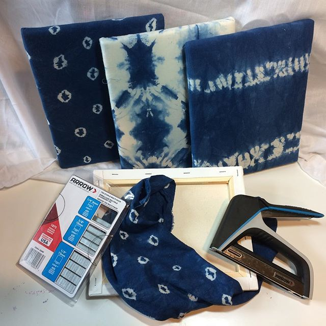 Stretching indigo shibori on canvases so I can embroider them. I used the fabulous staple gun I won from @arrowfastener - so easy and a nice grip! And as always I love the pre-reduced indigo I ordered from @dharmatradingco!