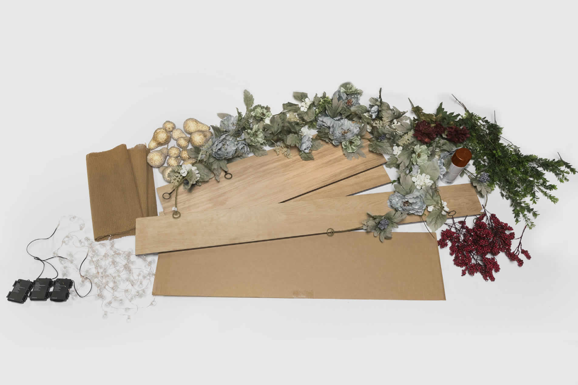 various materials for making holiday mantel project