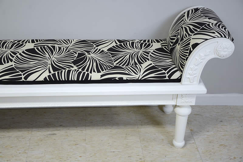 Reupholstered bench by Serena Appiah