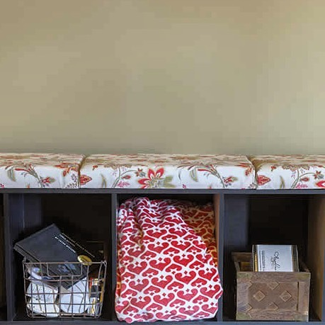 Upcycling time! See how this cozy bench came together by clicking the link in our bio. . . . . . . . .