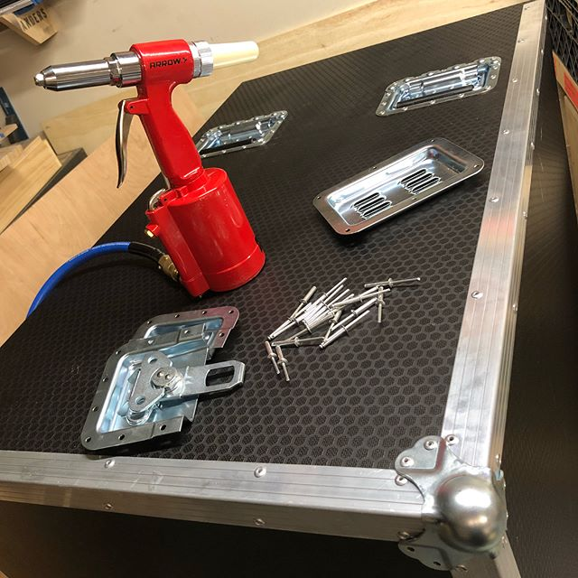 Working on a road case in the shop this week, trying to get this done quick so it can start touring the world next week. It's going to be used for a Health & Safety Department Production Office, check my story for a rendering of the finished product. ?️? @arrowfastener @pennelcomonline