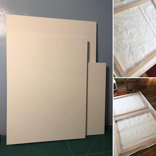 Just finished stretching three more canvases. Two, 32 x 42 and one, 38 x 50. @arrowfastener